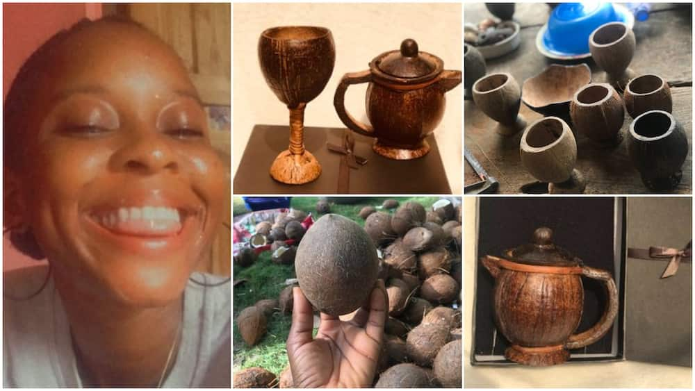 Young lady makes beautiful crafts from discarded coconut shells, people praise her