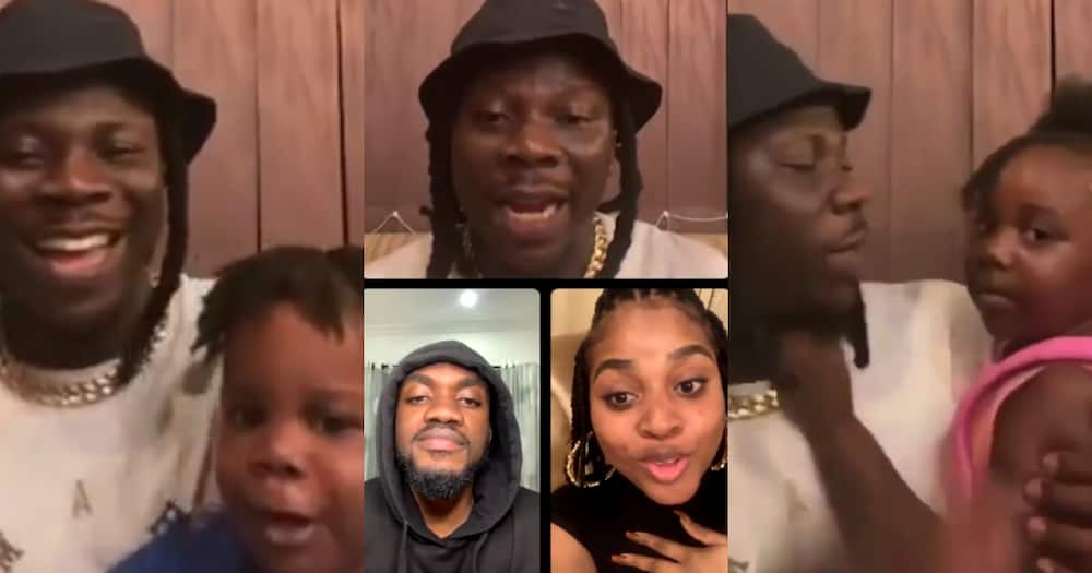 Love you daddy - Stonebwoy's 1st daughter Jidula and son interrupt his Instagram Live with Adina, Mr. Drew