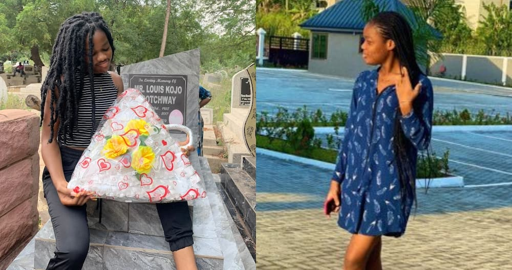 Lady spends Fathers' Day with her late dad & presents him gift at the cemetery