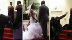 Groom falls under anointing after kissing bride on wedding day; many react as video goes viral