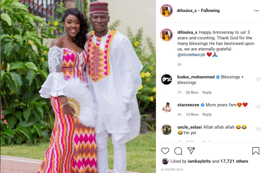 Dr. Louisa writes romantic message to Stonebwoy on their 3rd Anniversary