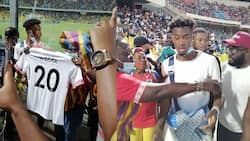 Photos drop as Chelsea star Callum Hudson-Odoi presented with Hearts of Oak jersey