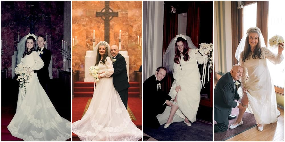 Couple recreate their wedding photos exactly 50 years later