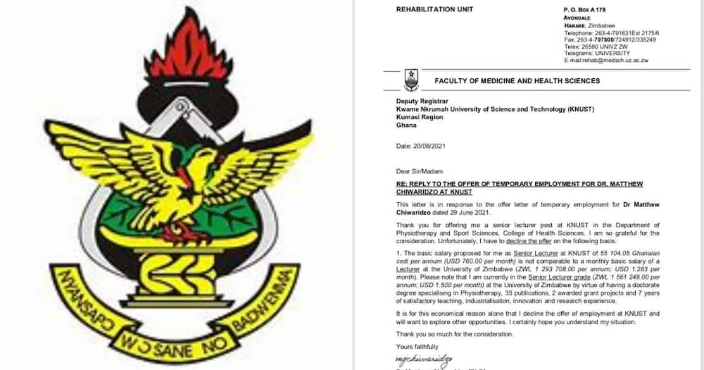 Zimbabwean lecturer reportedly refuses to teach in KNUST over poor salary