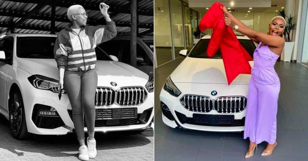 BMW SUV, birthday gift, woman buys herself