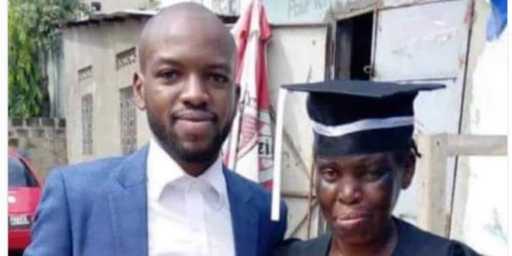Man wears mum his graduation gown as he bags law degree after mother sold bread to sponsor his education