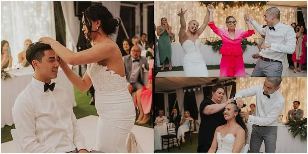 Video shows bride and groom shaving their hair on wedding day in solidarity with mum battling cancer