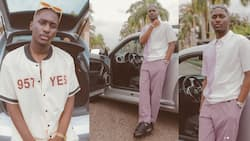 Like father like son: 5 recent photos of Despite's tall son, Saahene flexing new luxury car