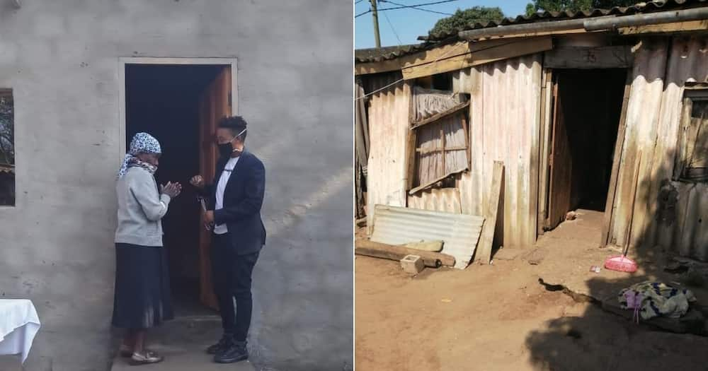 Tears of joy as an elderly lady is blessed with a new house