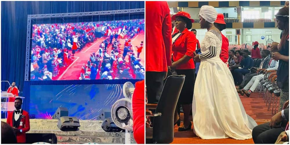 Reactions as lady who returned from UK shows up at Nigerian church dressed in wedding gown as she desires a husband