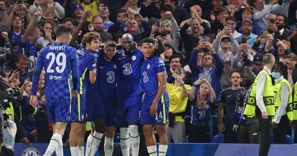 Chelsea players celebrating after scoring a goal. Photo: Getty Images.