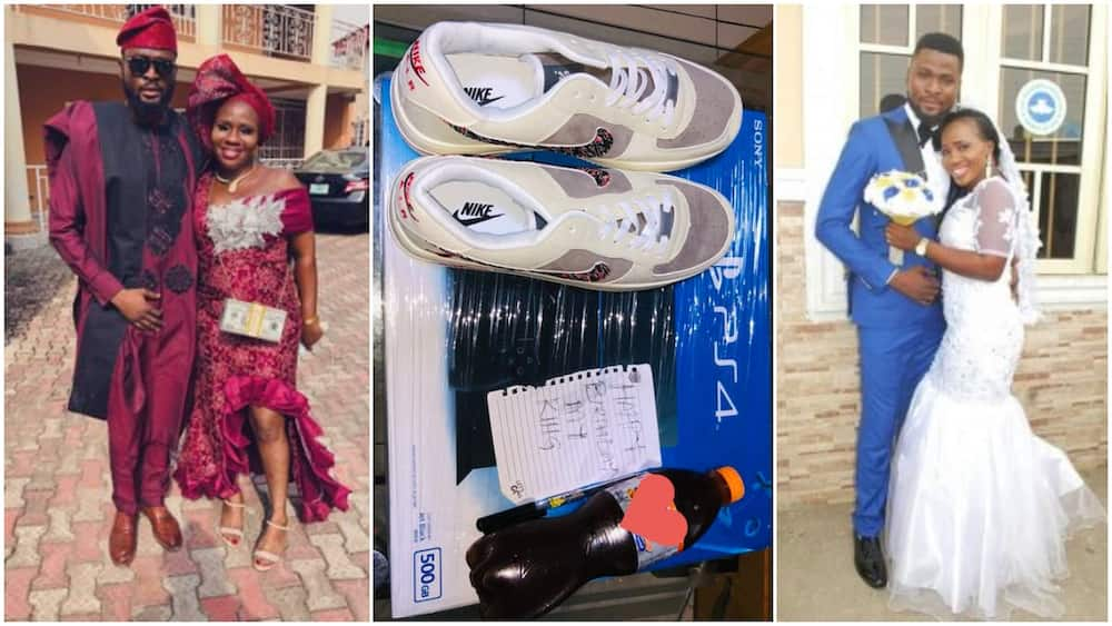 Woman surprises husband on his birthday, gifts him soft drink, new shoe, PS4 game console, photos go viral