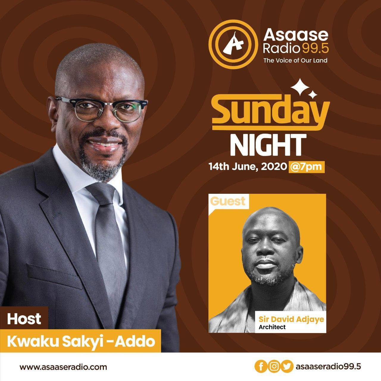 Kwaku Sakyi-Addo hosts Sir David Adjaye on 'Sunday Night' on Asaase Radio