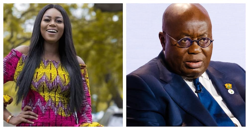 Yvonne Nelson and Prez. Akufo-Addo. Source: user-generated