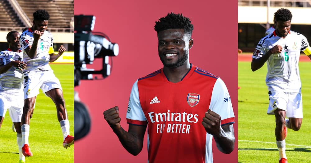 Thomas Partey after scoring for Ghana. SOURCE: Twitter/ @ghanafaofficia @Arsenal