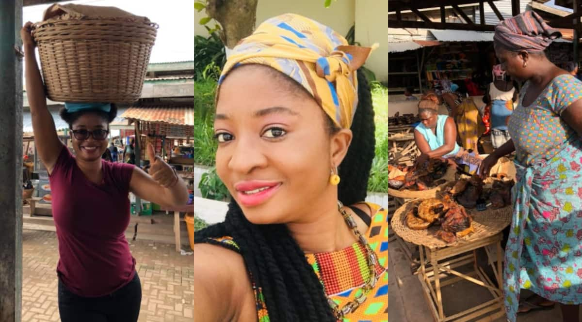 Photos of pretty curvy lady helping her mom sell dried fish at the market pop up