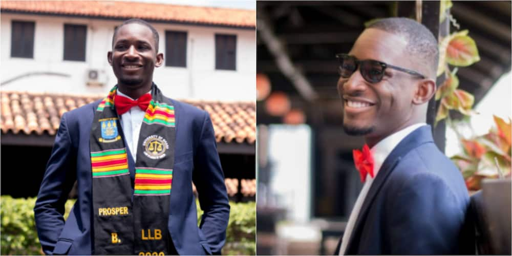 PHOTOS: Young Ghanaian man celebrates as he bags first class law degree from Legon