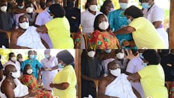 Otumfuo takes vaccine with his wife after spiritual fortification; photos drop