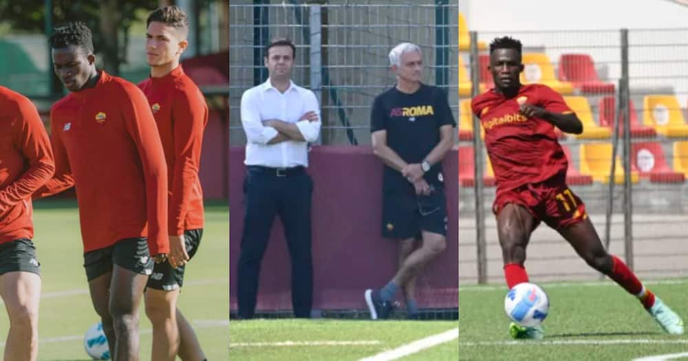 Afena-Gyan training with the first team: SOURCE: Twitter/ @ASRomaEN