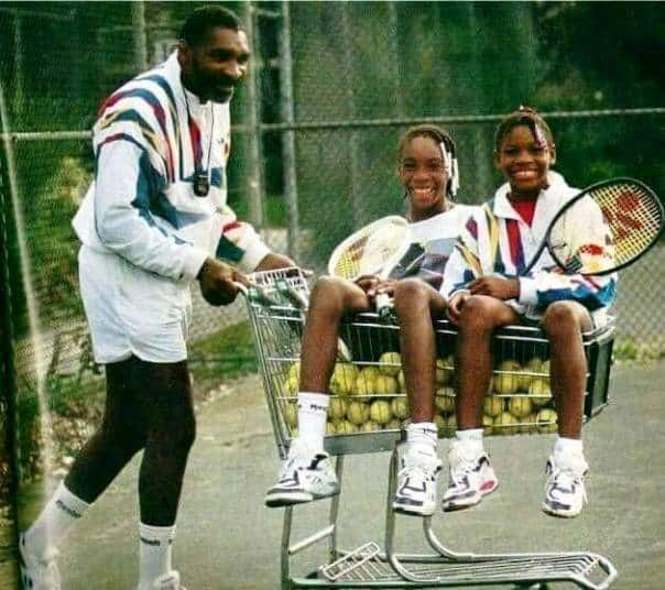 Serena and Venus Williams pose with their father in adorable childhood photo