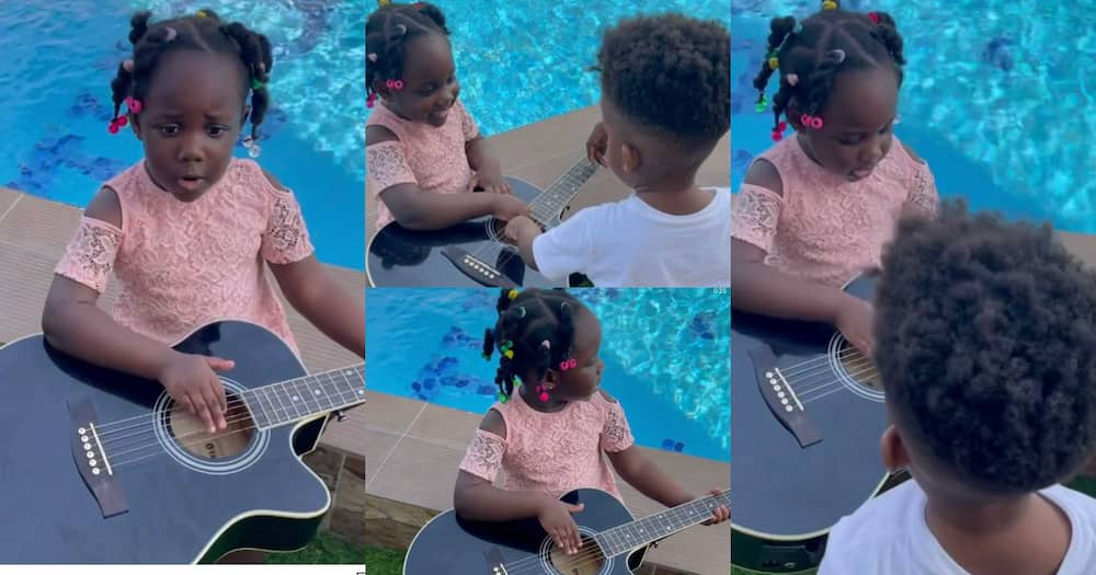 Jidula: Stonebwoy's Daughter Plays Guitar And Sings For Her Brother Janam; Video Warms Hearts