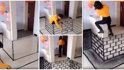Talented man fakes pit inside room with amazing floor painting, shocks a lady in video