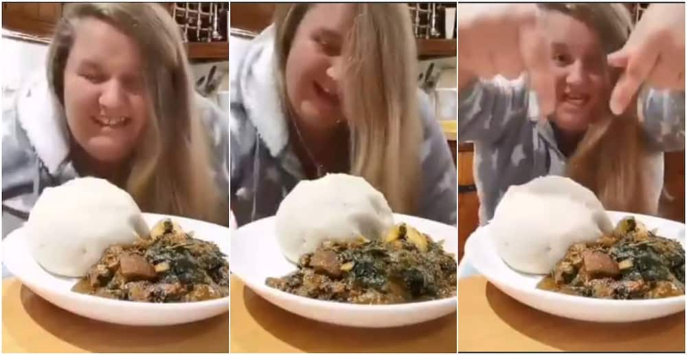 White lady praises God and speaks fluent pidgin over delectable Nigerian food