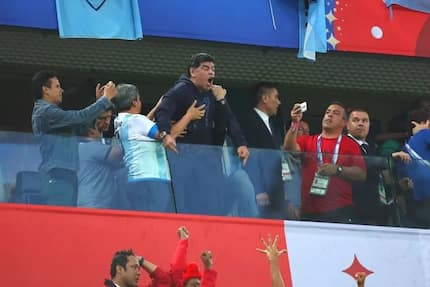 """Diego Maradona angrily insults """"haters"""" of Argentina as he celebrates late winner"""
