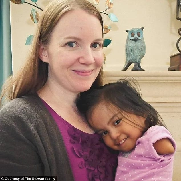 Adrienne Stewart with her adopted daughter, Maria. Photo: The Stewart Family