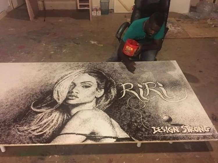 Man who draws his way to fame using salt, coffee, and baking soda