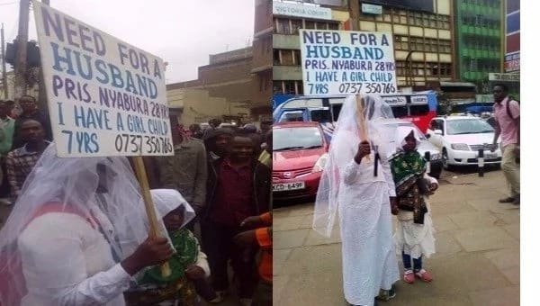 Desperate Kenyan lady parades herself on busy streets looking for a husband and everyone is surprised (photos)