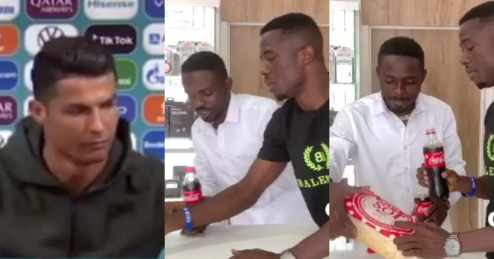 Comedian Waris and Kwaku Manu remake Cristiano Ronaldo's coca cola snub video
