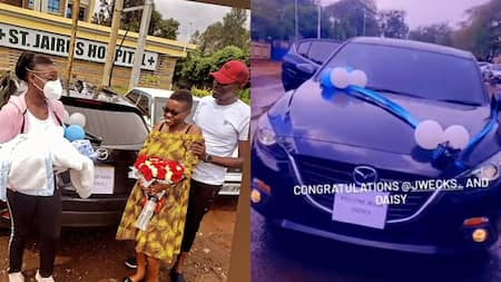 Loving husband gifts wife brand new car after giving birth to their son