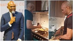 Video of billionaire cooking yam and sauce for himself in kitchen pops up, wows many online