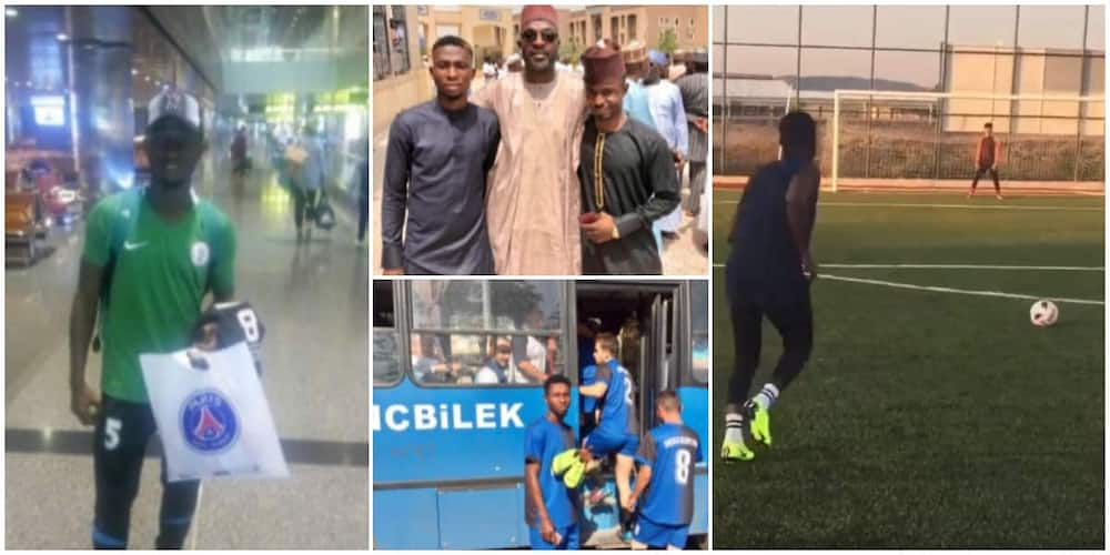 Social media reacts as Nigerian man stuns poor orphan, sends him abroad for football trials