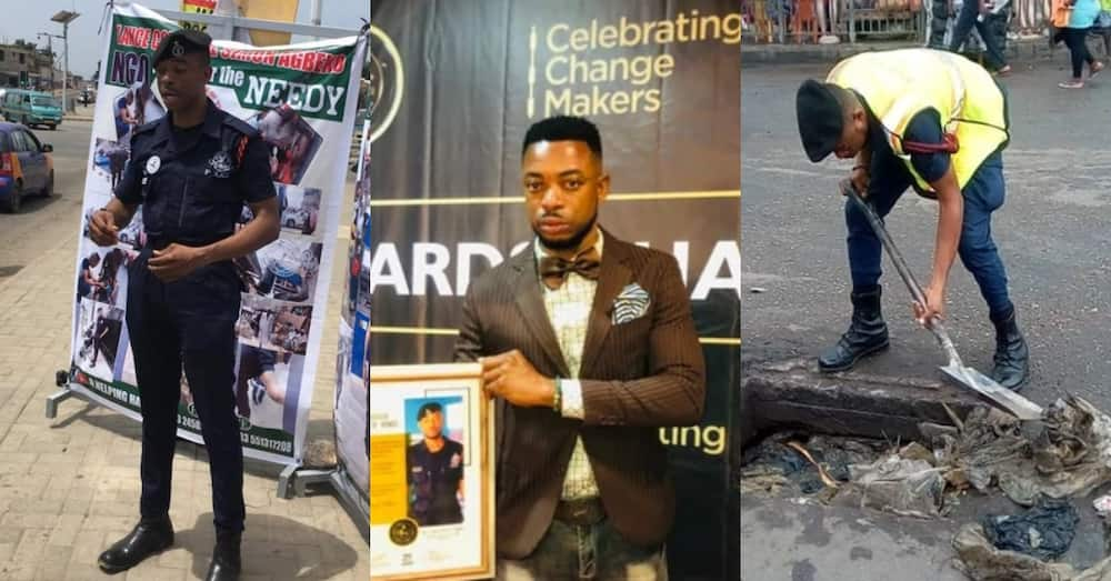 Ghanaian policeman who cleans gutters & helps disabled people gets humanitarian award
