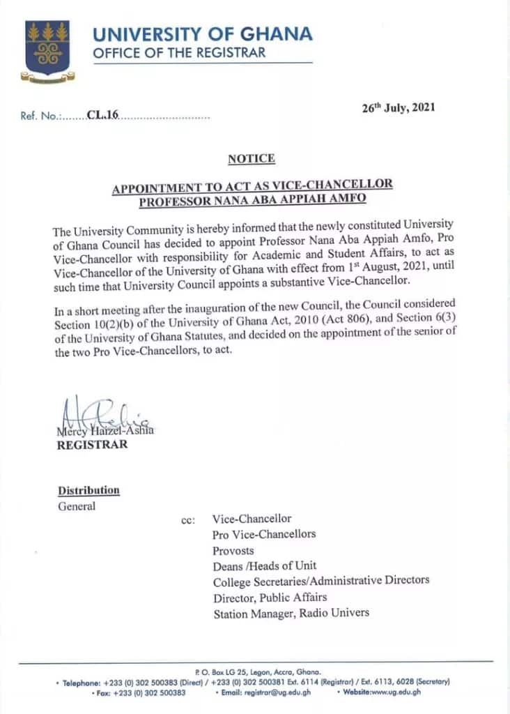 Prof. Nana Aba Appiah Amfo: Woman Appointed As Vice-Chancellor of University of Ghana