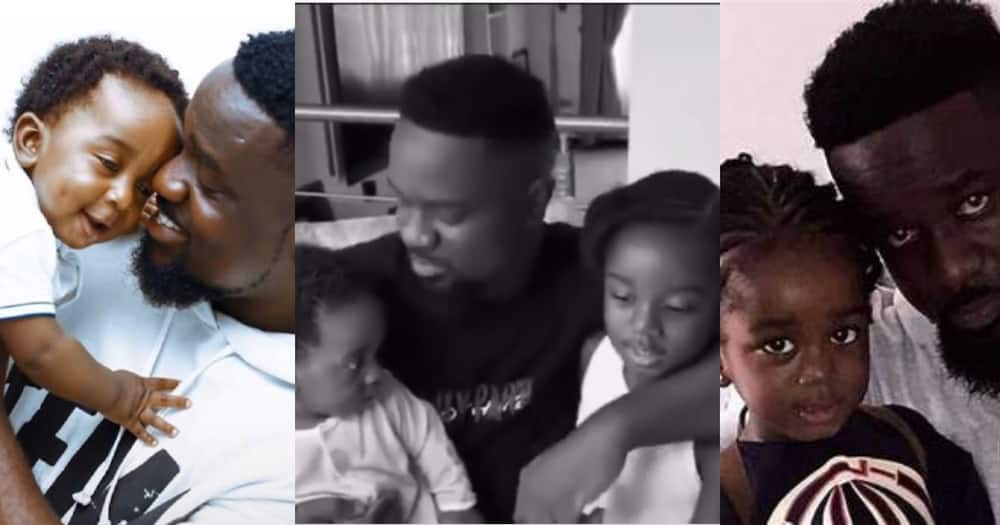 Sarkodie: 5 Moments of Rapper with his Children Captured in new Video; Feeds Titi, Carries his son