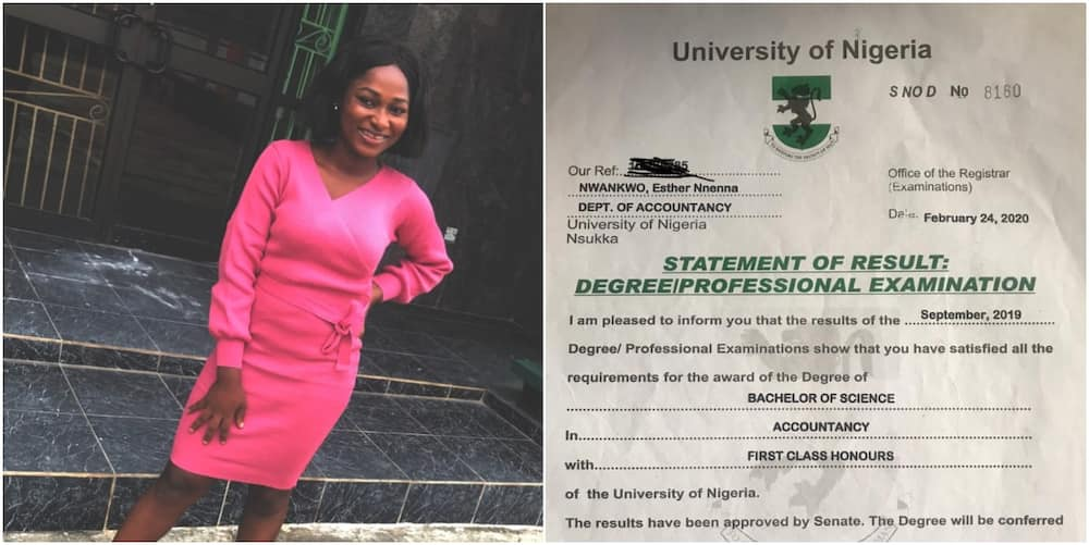 Lady graduates with 1st class after dad denied her varsity education because she's female