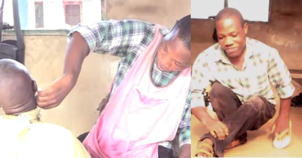 I got paralysed at an early age from injection - Physically challenged barber shares emotional story