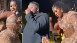 GMAUK21: Medikal 'faints' behind Fella Makafui while grinding her backside on stage; video pops up