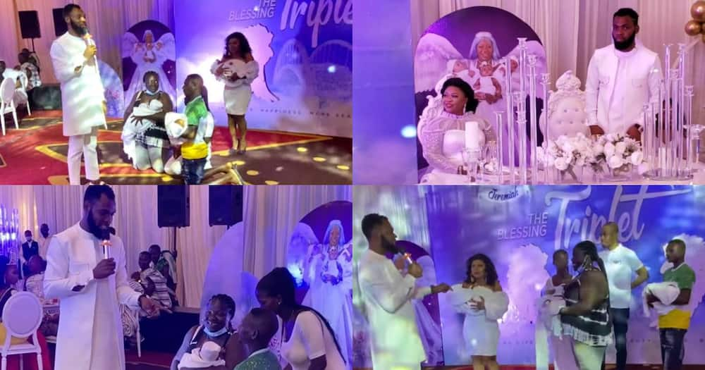 Obofour gifts couple house, car and GHc20k at naming ceremony for his triplets (video)
