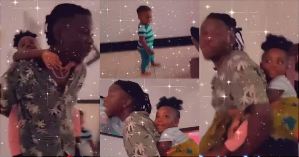 Stonebwoy carries daughter Jidula on his back; son Janam runs to his mother crying (video)