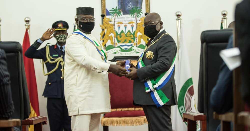 Sierra Leone's President, Julius Maada Bio, confers on Akufo-Addo highest national award