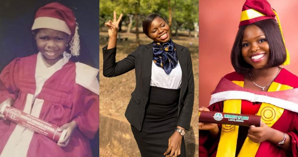 Veronica Aina: Lady unintentionally recreates childhood graduation photo after passing Law Exams