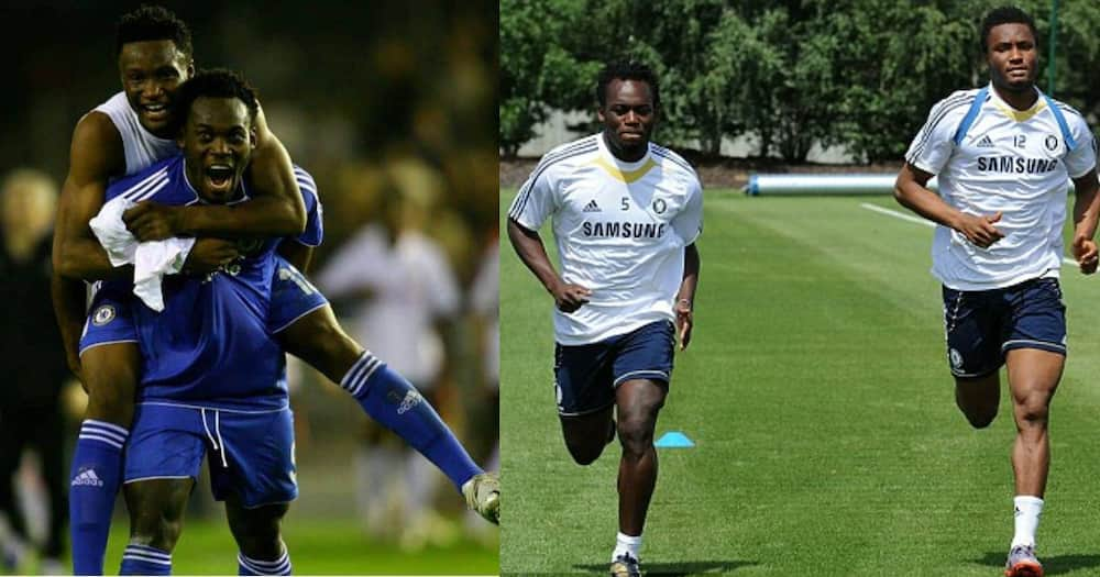 Mikel Obi and Michael Essien during their time at Chelsea. SOURCE: Twitter/ @ChelseaFC