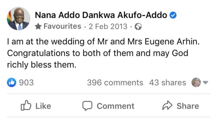 Message Akufo-Addo sent to Eugene Arhin and wife on their wedding day pops up