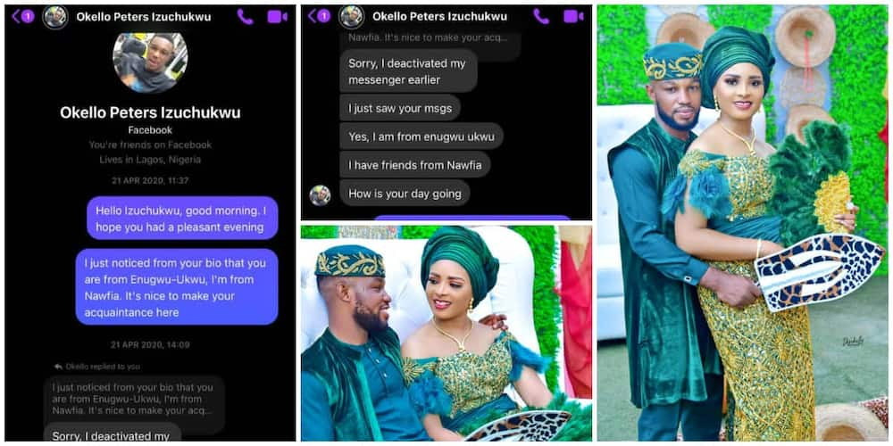 Nigerians react as couple who met on Facebook tie the knot, the lady was the first to chat the guy