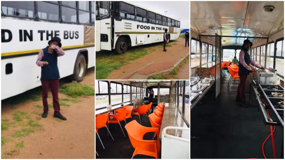 Young man converts luxurious bus into restaurant
