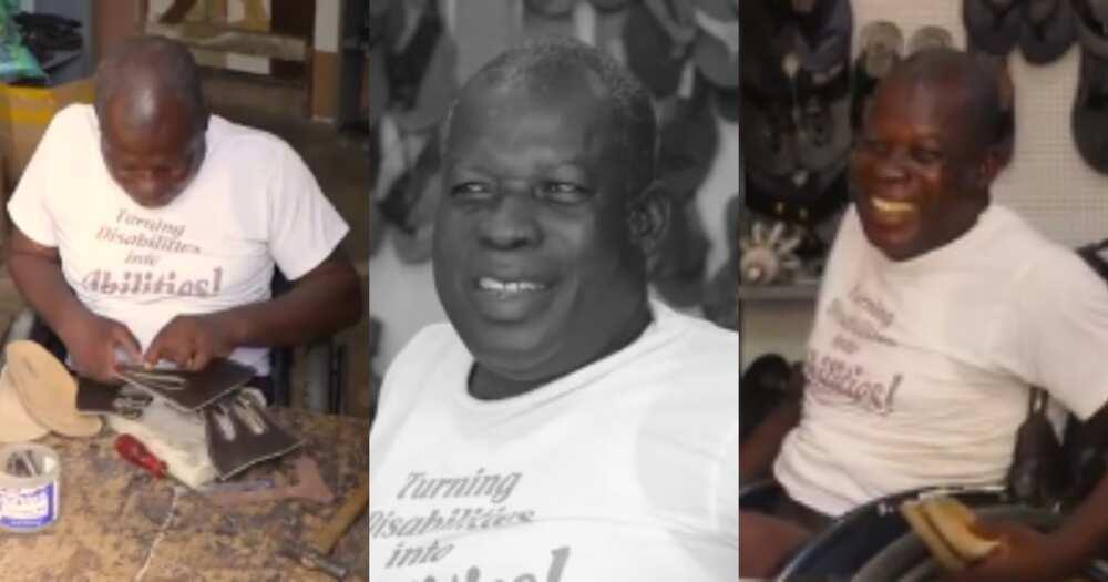 Joseph Mensah: Meet the Ghanaian physically challenged shoemaker who runs his own business